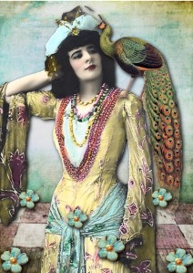 bohemian woman with peacock