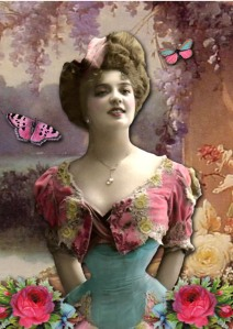 bohemian woman with pink butterfly